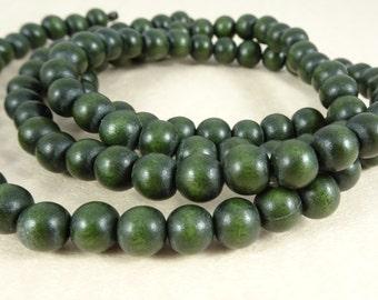 "Wooden Beads, Dark Green - 8mm Round Wooden Beads - Forest Green Beads (9456) - 16"" Strand"