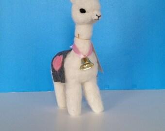 "Alpaca Ornament Needle Felted 8.5""  White Alpaca Fiber"