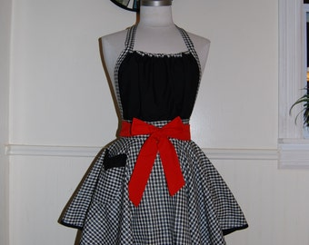 Red and Black Plaid Full Circle Skirt Hostess Apron with Gathered Bodice and Pocket