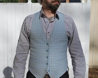 Blue & White Check/ Lt. Blue Reversible Waistcoat
