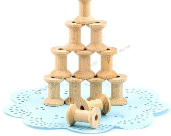 """25 - Small Wooden Spools - 1-1/8"""" x 7/8"""" - New Unfinished Wood for Craft Projects -  Store Twine, Tape, Thread - Hourglass shape"""