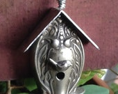 Vintage Birdhouse Pendant made of Vintage Silverware