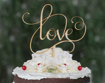 Rustic LOVE Wedding Cake Topper | Wooden Cake Topper | Engagement Cake Topper | Cake Topper for Wedding | Cake Top | Wedding Cake Decorating