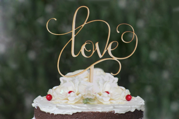 Rustic LOVE Wedding Cake Topper Wooden Cake Topper By