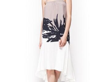 Midi dress / evening dress / day to night dress / straight cut dress / printed dress