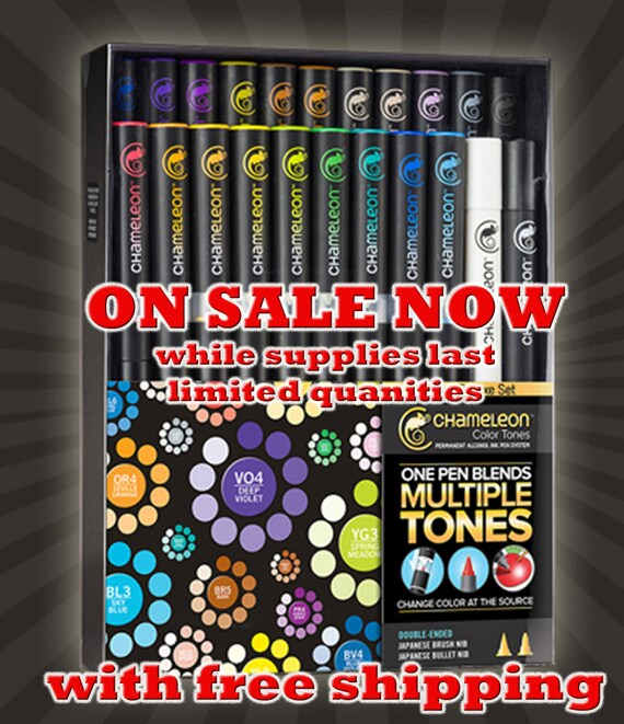 SALE 22 pc Deluxe refillable, high quality alcohol pens by Chameleon, Ombre system allows you to create hundreds of tones,