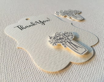 Thank You Favor Tags, Wedding, Bridal Shower, Favor Tag, Bracket Tags, Birthday Tags, Personalized Favor Tags, Customized, Applique, 12 Pack