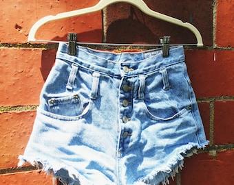 Vintage I.O.U high waisted jean shorts button up