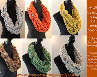 ONE Crochet Bulky Fall Autumn Warm Acrylic Infinity Scarf