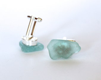 Up-Cycled Silver Tone Cuff Links with Acqua Blue / Green Sea Beach Glass