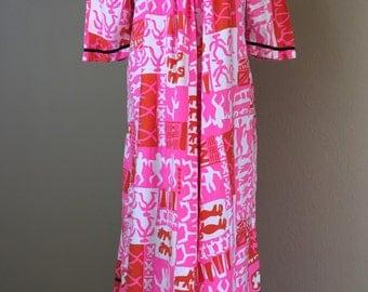 Vintage 1960's Kamehameha mod era pop art cotton hawaiian muumuu dress L tiki