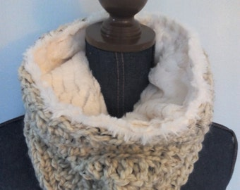 Cowl Scarf, Faux Fur Lined, Chunky Crochet Neck Warmer, Men or Women, Any Color, Custom MADE TO ORDER