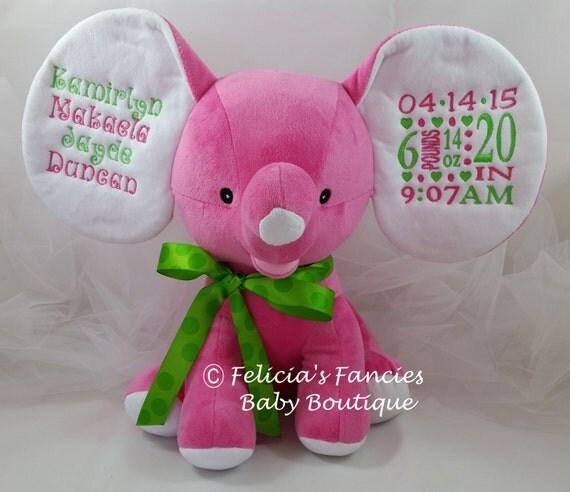Plush Elephant Baby Dumble Birth Announcement Stuffed Animal