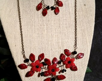 "16-18"" Red Jasper Flower, Leaf, and Antique Brass Wire Vines Necklace and Earrings - WV-003"