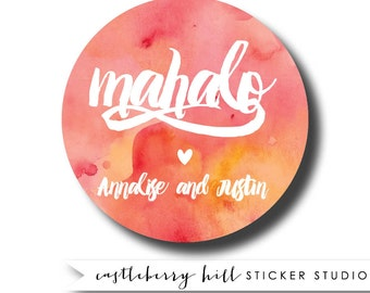 Mahalo gift tag, watercolor wedding sticker, mahalo wedding sticker, Hawaiian wedding, hawaiian wedding ideas, Watercolor favor gift tags