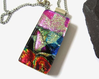Shimmering Pink Fused dichroic glass pendant necklace,Goth, dichroic glass pendant NL945, summer 16, shiny gold for her, geometric