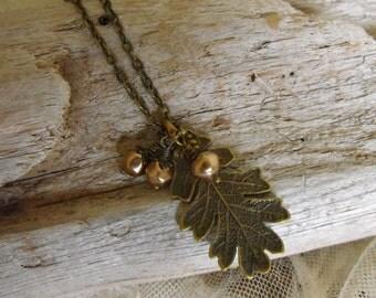 Rustic Acorn Oak Leaf Necklace, Fall Jewelry, Pearl Acorns, Antique Brass, Nature Lovers, Woodland, Rustic,
