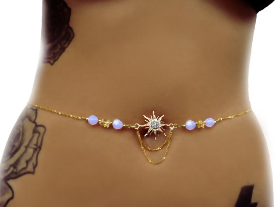 Gold belly chain gypsy jewelry sun belly chain body for Necklace belly chain jewelry