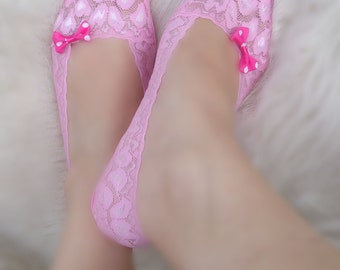 Pink lace socks, bow socks, ddlg, lolita socks, babygirl socks, lace heels socks, kitten socks, bridal socks, non slip, peep socks, bdsm