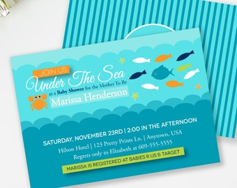 Under The Sea Invitation, Beach Baby Shower, Nautical Shower Invitation, Ocean Shower Invite, Aqua Baby Shower, Printable Invite, #N2