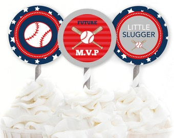 Baseball Cupcake Toppers, Baseball Baby Shower Decor, Sports Party Decor, Little Slugger Theme, Red and Blue, INSTANT DOWNLOAD, #S4