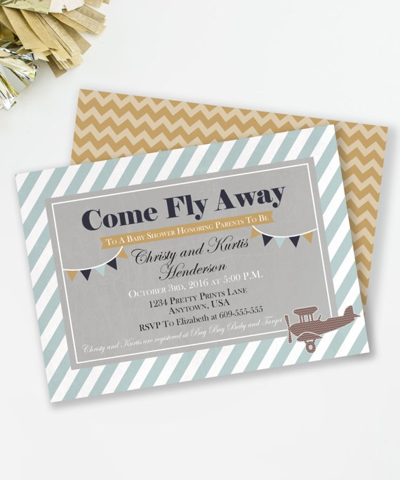 product search: vintage airplane baby shower | catch my party, Baby shower invitations