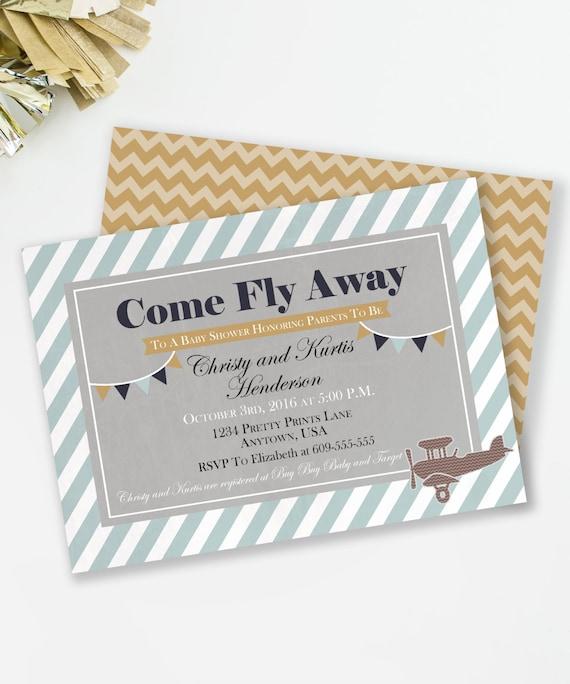 airplane baby shower invitation, rustic baby shower, vintage, Baby shower invitations