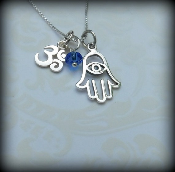 Sterling silver OM and Hamsa hand necklace, yoga jewelry, meditation necklace, hand of protection