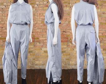 three piece pantsuit / womens pantsuit / chambray pantsuit / matching set / pintuck pleat / high waist trousers / boxy blazer / blue