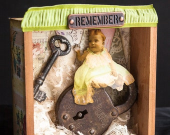 Art Assemblage, Shadow box, Mixed Media Collage, Antique Baby Photo, Antique Padlock & Key, Shabby Chic