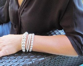 Silver Bead Cuff Bracelet Multi Strand Bracelet Sterling Silver Beaded Bracelet Gift for Her, Layering Jewelry Audrey Bracelet