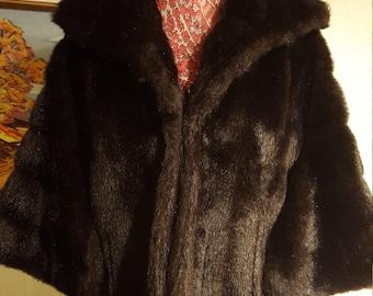 Stunning Faux Fur Mink Cape Coat