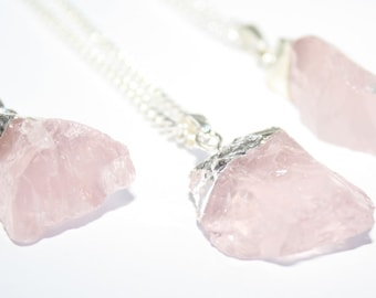 Rose Quartz Necklace, Raw Crystal Necklace, Rough Cut Rose Quartz, Chunky Necklace, Raw Rose Quartz, Crystal Necklace, Rose Quartz Jewellery