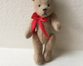 Miniature Tan Bear with Red Bow   (JL)
