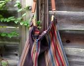 Desert Bloom~ Vivid Stripes Wool Slouch~ Multicolored~ Autumn Hues~