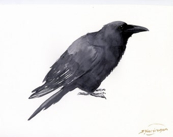 """Raven, 16"""" X 12"""", one fo a kind watercolor painting, illustration"""