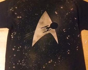 Star Trek Inspired Handmade Bleached Shirt