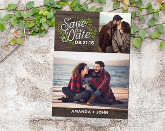 Rustic Woodland Photo Save-the-Date Announcement; vines, woodland, rustic