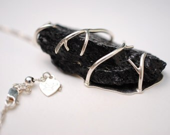 Black Tourmaline Root Tree Branch Twig Sterling Silver Prong Setting Necklace (Handmade Statement Nature Jewelry)