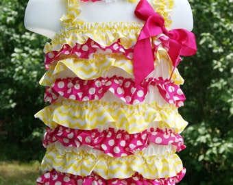 24-36 mos baby infant shocking pink yellow chevron polka dot satin petti romper outfit w headband photography prop birthday outfit body suit