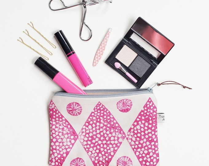 Small Printed Pouch - Pink Block Print