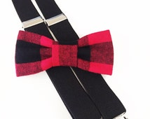red and black buffalo plaid bow tie & suspender set,suspenders,baby suspenders,cake smash,suspender set,bow tie,toddler suspender,wedding,