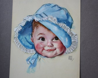 Maud Tousey Fangel, Vintage, 1940s, Embossed Lithograph of Baby in Bonnet
