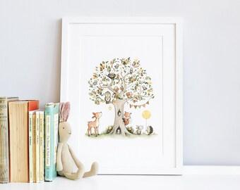 The Pear Tree, UNFRAMED Nursery Print, Kid's Woodland Art, Forest animal, Woodland theme, Unisex Nursery, Picture, Painting, Wall Art Print