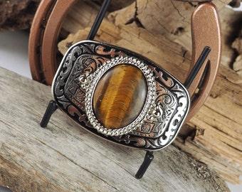 Western Belt Buckle - Natural Tiger Eye Buckle -Cowboy Belt Buckle - Silver Tone & Black Belt Buckle with a Natural Tiger Eye Stone