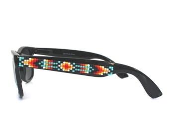 Polarized Sunglasses, Beaded Sunglasses, Bold Navajo-Inspired Sunglasses, Ray Ban style, Wayfarer Sunnies, Unique Gift, Summer Accessories