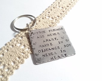 Best Friend Keyring, Friends are like stars, Best Friend Gift, Personalised friendship gift, handstamped friend keyring