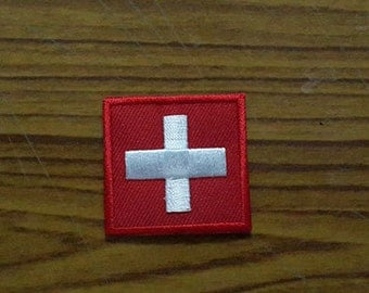 Switzerland Flag Iron on patch - Flag Applique Embroidered Iron on Patch