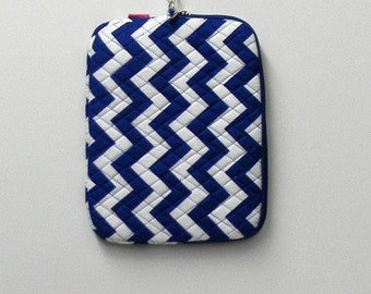 Royal Blue and White Chevron Personalized Tablet Sleeve - Monogram Neoprene Bag for iPad, Kindle, Nook E-Reader -