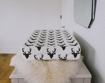 Change Pad Cover - buck, black and white, gender neutral, modern nursery, trendy nursery, baby room, deer